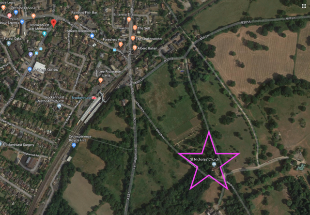 Map of part of Brockenhurst that contains St. Nicholas' Church